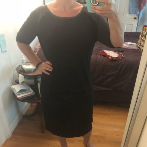93e4cd39f9621 LuLaRoe Dresses & Skirts - LuLaRoe Julia Dress Black with Grey sleeves